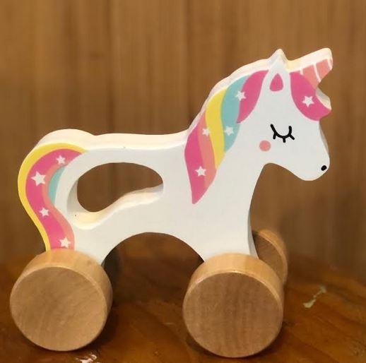 Wooden push along unicorn
